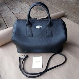 Furla Paper Moon Black Saffiano Zip Satchel Purse